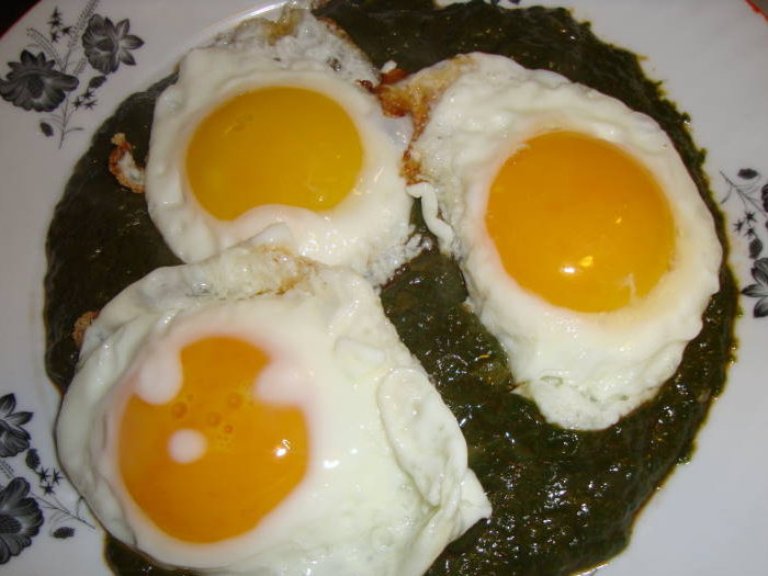 Spinach puree with eye eggs on a plate