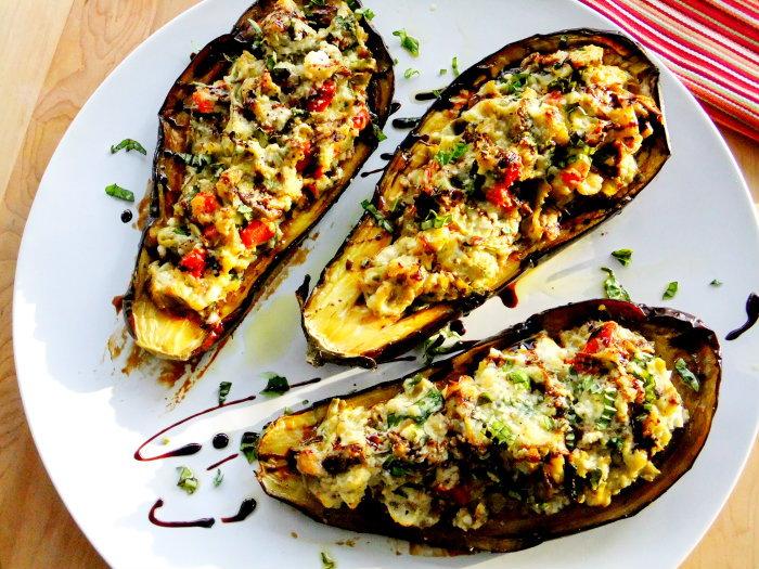 roasted, stuffed eggplant