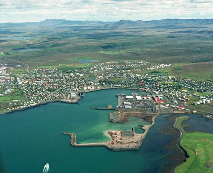 iclandic town as seen from the air