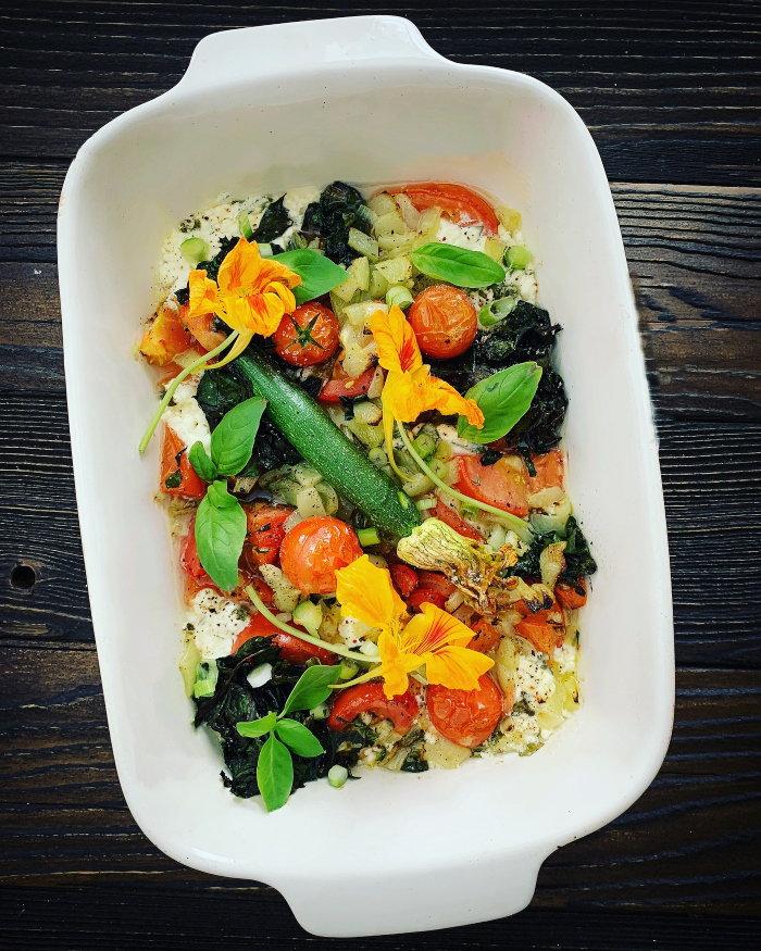 nasturtiums with roasted vegetables