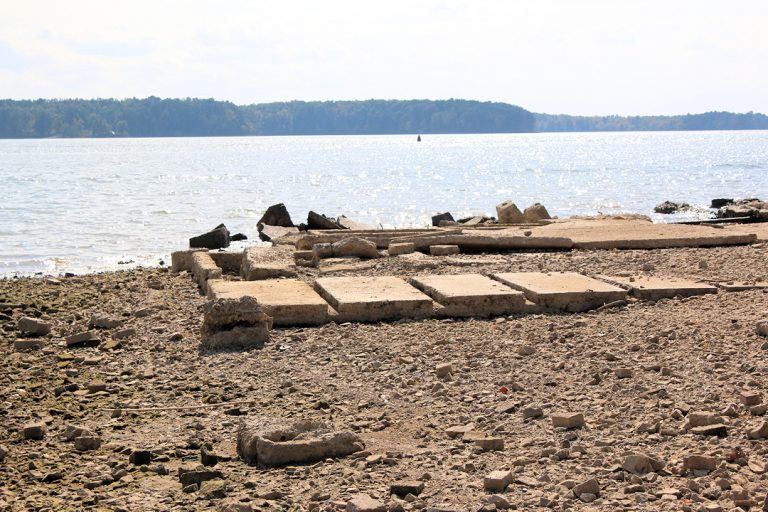 foundations seen during low lake levels