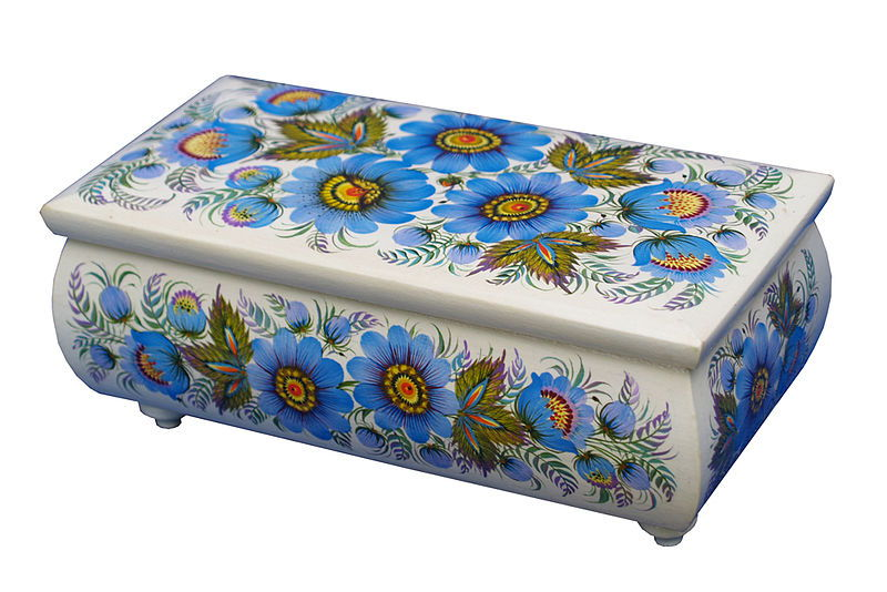 Russian wooden box with blue flowers