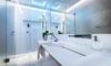 A glass shower.