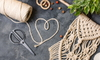 macrame string and other supplies for string art