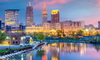 beautiful cityscape of Cleveland Ohio in evening