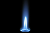blue flame from a pilot light