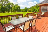 wooden deck and patio furniture