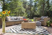 Patio set and outdoor rug