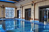 luxurious indoor swimming pool room with wood walls and blue tiles