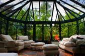 An English conservatory with green foliage out the windows.