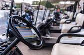 a row of golf carts