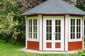 A shed with windows.