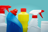 Bottles of cleaners side by side
