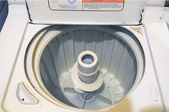 Inside a washing machine with agitator