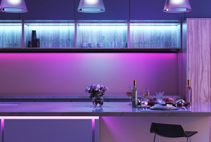 kitchen with purple LED lights