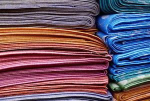 Stacks of silk fabric