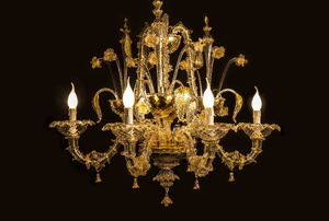 A chandelier on a black background.