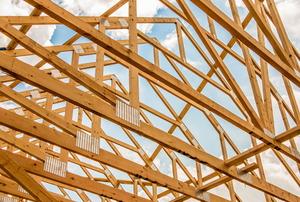 Roof trusses under construction