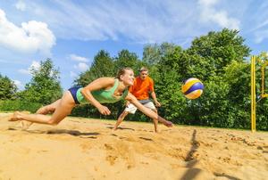 A sand volleyball court.