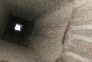 chimney from inside with ash buildup