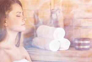 A woman in a steam sauna.