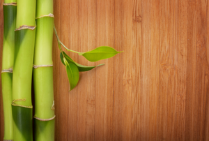 bamboo stalks on wood surface