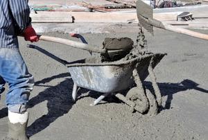 Cement in a wheelbarrow.
