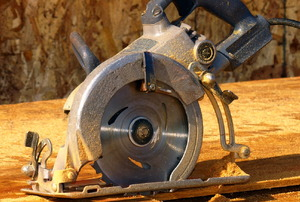 A worm-drive circular saw, ready to get to work.