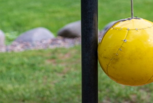 A backyard tetherball set.