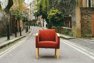 Red airchair in the street