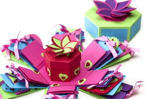 a brightly colored gift box with many unfolding layers