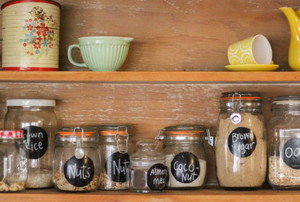 pantry shelves with labeled jars