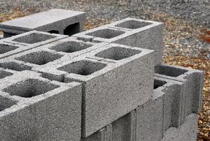 Cinder blocks in a pile.