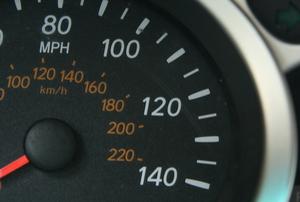 A speedometer in a car.