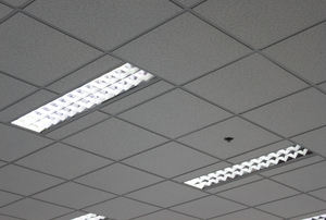 fluorescent lights in a ceiling