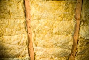 Fiberglass insulation installed in a wall