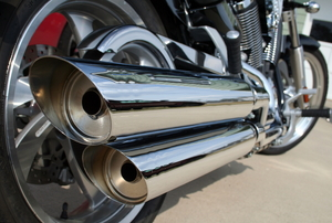 close up of motorcycle exhaust