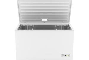 An open chest freezer.
