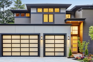 a house with screen-door style garage doors