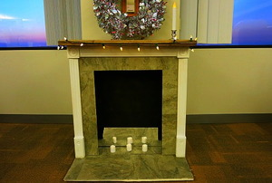 A fake fireplace on the 10th floor of the doityourself building