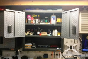 Open wall-mounted garage cabinet