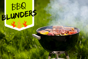 """A grill with meat and vegetables on top with the words """"BBQ Bunders."""""""