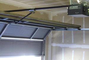 A garage door.