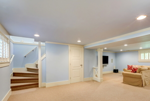 A finished basement.