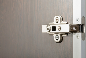 a metal euro hinge on a door with Phillips head screws