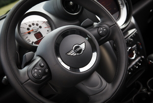 A Mini Cooper steering wheel.