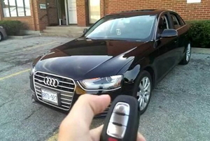 Using a key fob to unlock or remote start an Audi.
