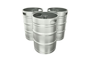 beer kegs on a white background