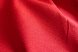 A length of red, textured spandex fabric.