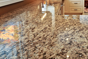 A clean granite kitchen countertop.
